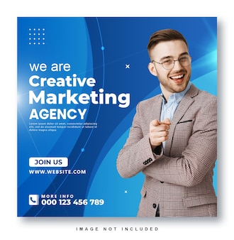Modelo de design de postagem do instagram para agência de marketing criativo