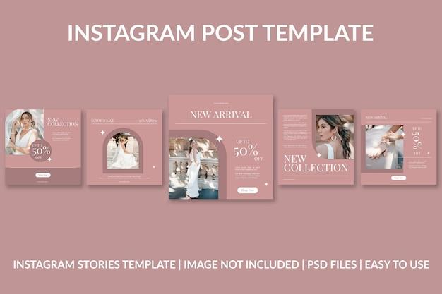 Modelo de design de postagem no instagram de moda rosa