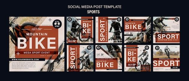 Modelo de design de postagens de mídia social para esportes de bicicleta