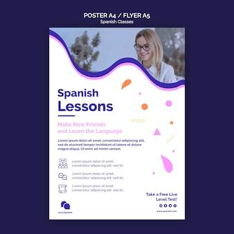 Modelo de design de pôster de aulas de espanhol