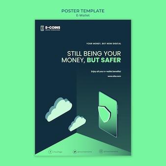 Modelo de design de pôster de carteira eletrônica