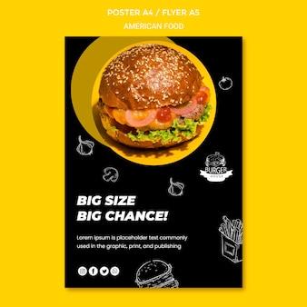 Modelo de design de pôster de comida americana