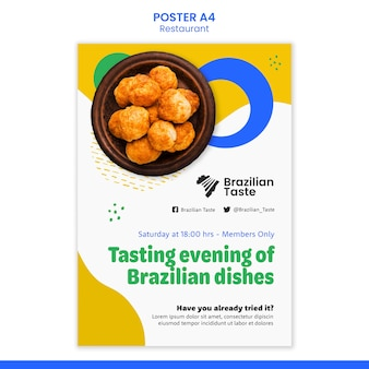 Modelo de design de pôster de comida brasileira