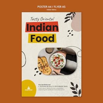 Modelo de design de pôster de comida indiana