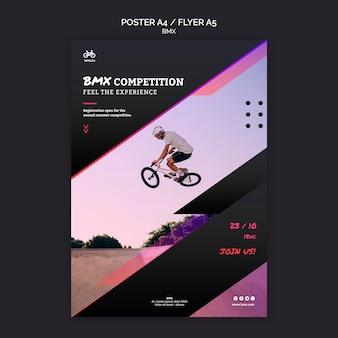 Modelo de design de pôster de competição bmx
