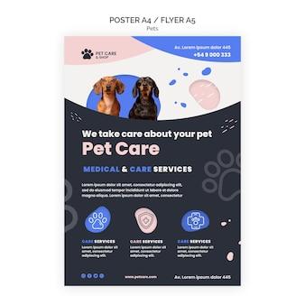 Modelo de design de pôster de cuidados com animais de estimação