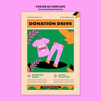 Modelo de design de pôster de doação de caridade