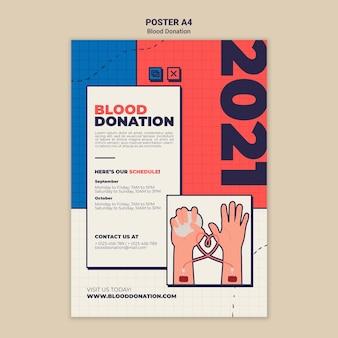 Modelo de design de pôster de doação de sangue
