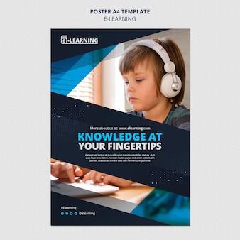 Modelo de design de pôster de e-learning