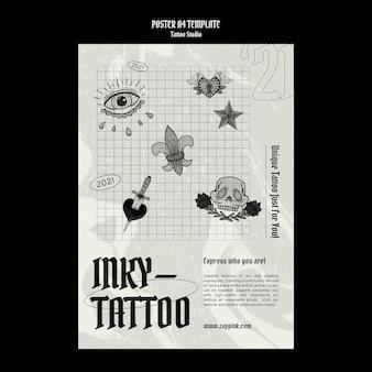 Modelo de design de pôster de estúdio de tatuagem