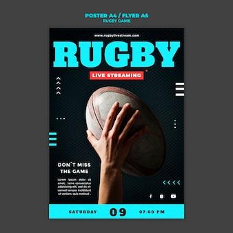Modelo de design de pôster de jogo de rugby