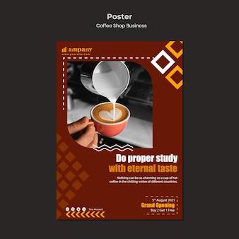 Modelo de design de pôster de negócios para cafeteria