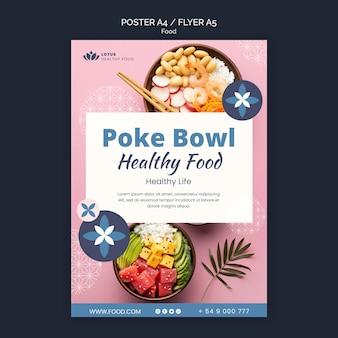 Modelo de design de pôster de refeição poke bowl