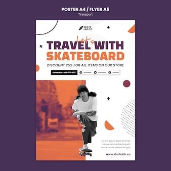 Modelo de design de pôster de transporte de skate