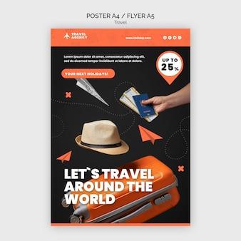 Modelo de design de pôster de viagem