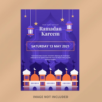 Modelo de design de pôster digital ramadan