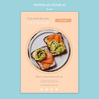 Modelo de design de pôster e folheto de comida