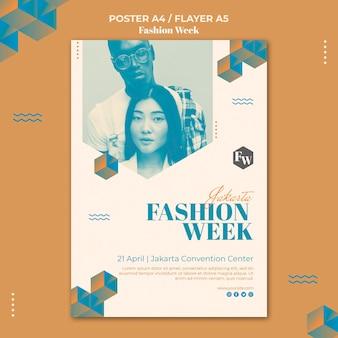 Modelo de design de pôster para a semana da moda