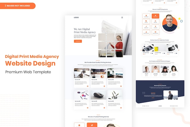 Modelo de design de site de agência de mídia impressa digital