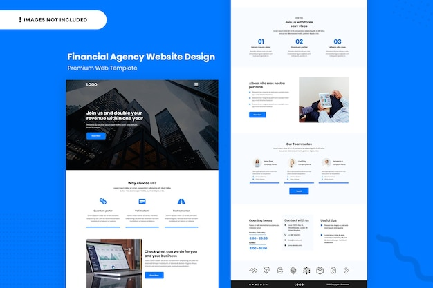 Modelo de design de site de agência financeira