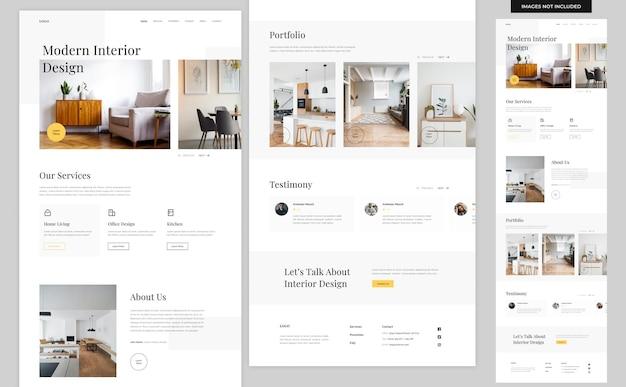 Modelo de design de site de arquitetura para interiores