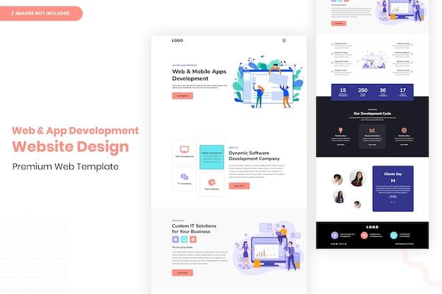 Modelo de design de site de desenvolvimento de aplicativos e web