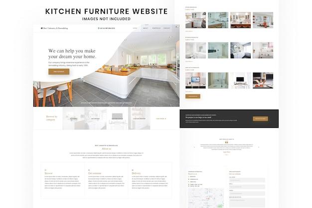 Modelo de design de site de móveis de cozinha