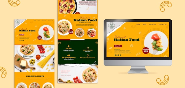 Modelo de design de site de restaurante italiano
