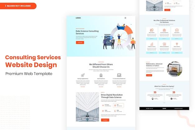 Modelo de design de site de serviços de consultoria