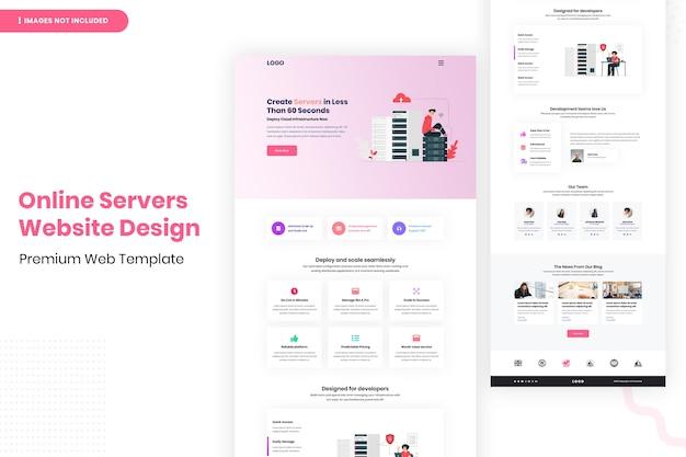 Modelo de design de site de servidores online
