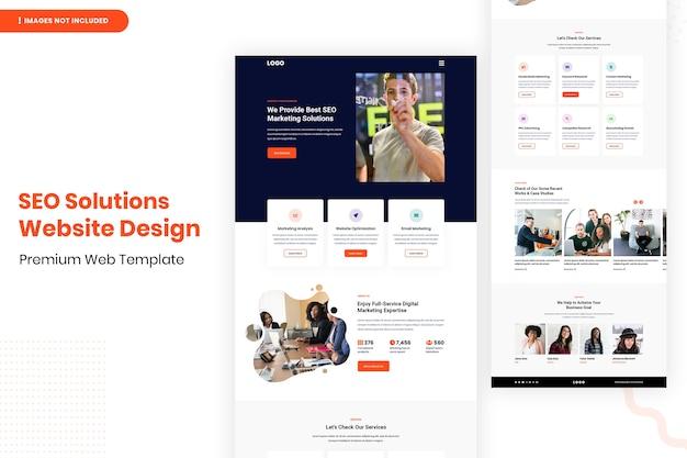 Modelo de design de site de soluções de seo
