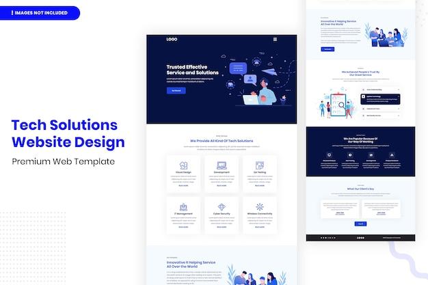 Modelo de design de site de soluções de tecnologia Psd Premium