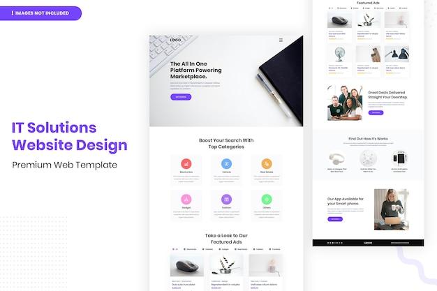 Modelo de design de site de soluções de ti