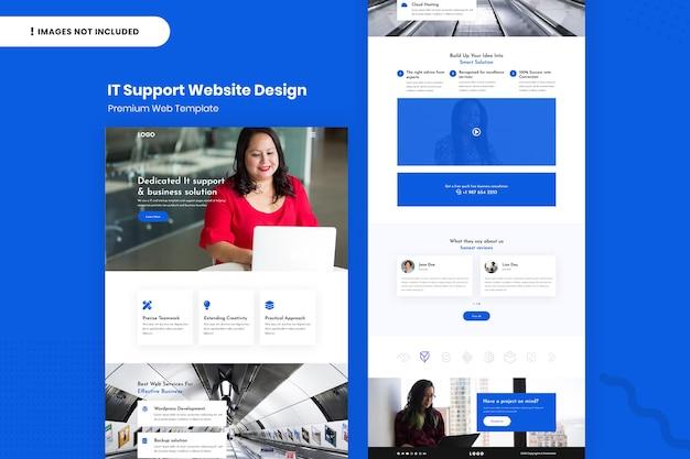 Modelo de design de site de suporte de ti