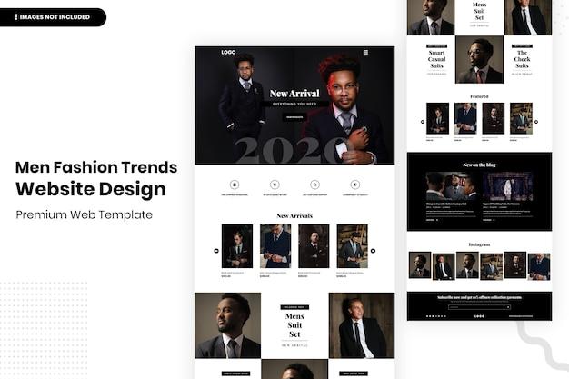 Modelo de design de site de tendências da moda masculina