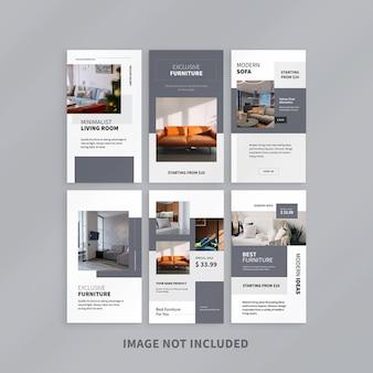 Modelo de design do instagram para promoção de móveis