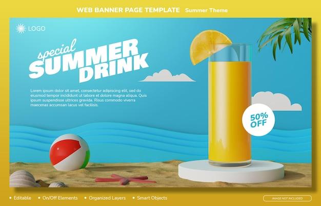 Modelo de design editável de página de banner da web de tema de verão com elementos 3d