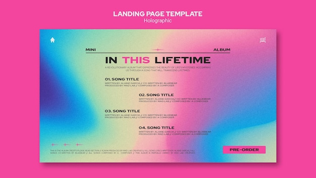 Modelo de design holográfico da página de destino
