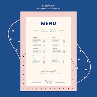 Modelo de design para o menu do restaurante