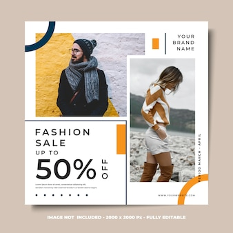 Modelo de design quadrado banner de mídia social venda de moda estilo minimalista