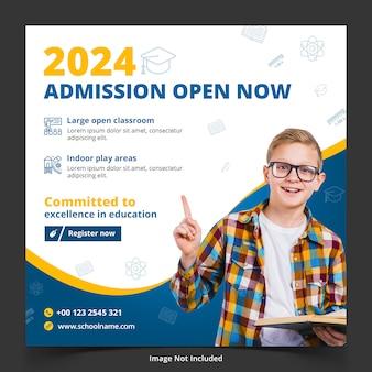 Modelo de design quadrado de admissão escolar para publicação no instagram