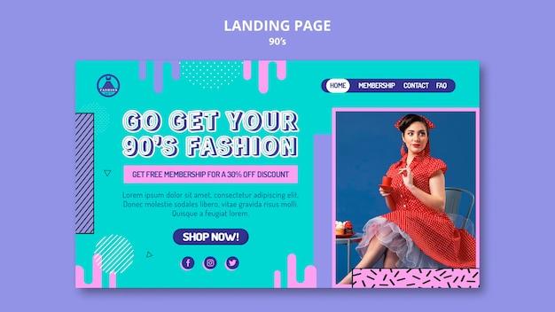 Modelo de design retro de página de destino dos anos 90
