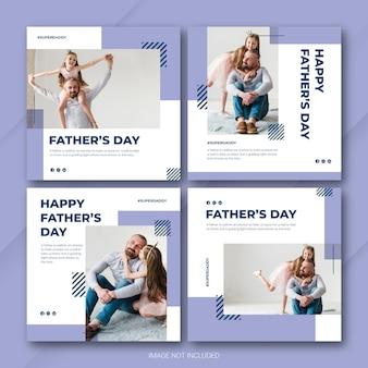 Modelo de dia dos pais do pacote de postagem do instagram