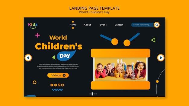 Modelo de dia infantil da página de destino