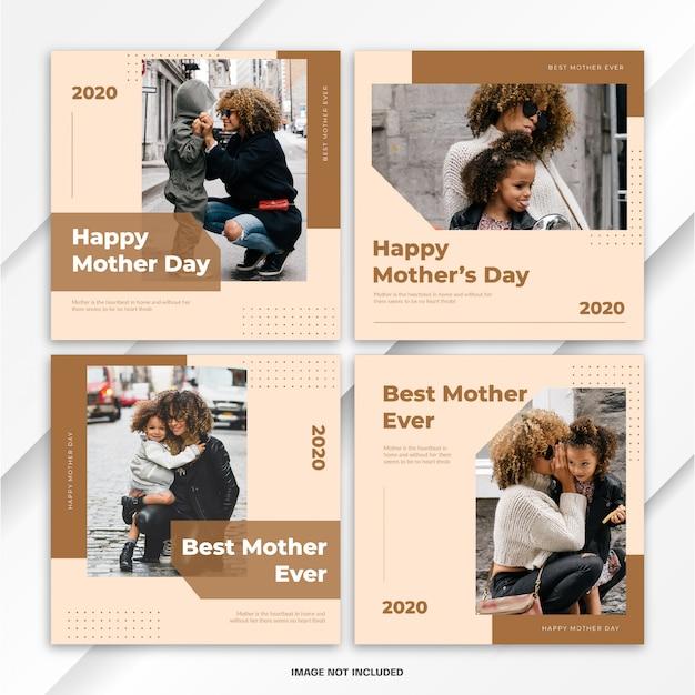 Modelo de dia mundial das mães no instagram post bundle