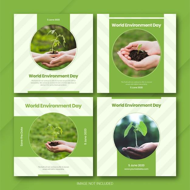 Modelo de dia mundial do meio ambiente do instagram post bundle