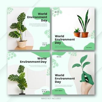 Modelo de dia mundial do meio ambiente do instagram post bundle Psd Premium