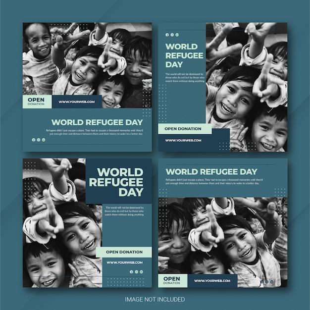 Modelo de dia mundial dos refugiados no instagram post bundle