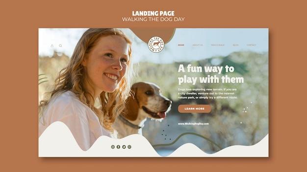 Modelo de dia para passear com o cachorro na página de destino