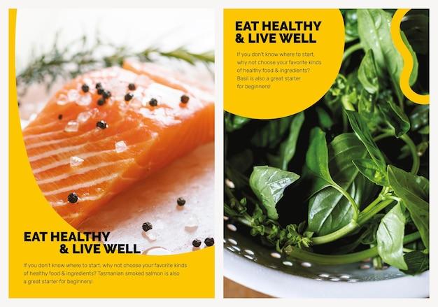 Modelo de dieta saudável psd marketing estilo de vida coleção de cartazes